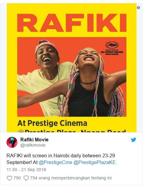 Twitter pesan oleh @rafikimovie: RAFIKI will screen in Nairobi daily between 23-29 September! At @PrestigeCine @PrestigePlazaKE.