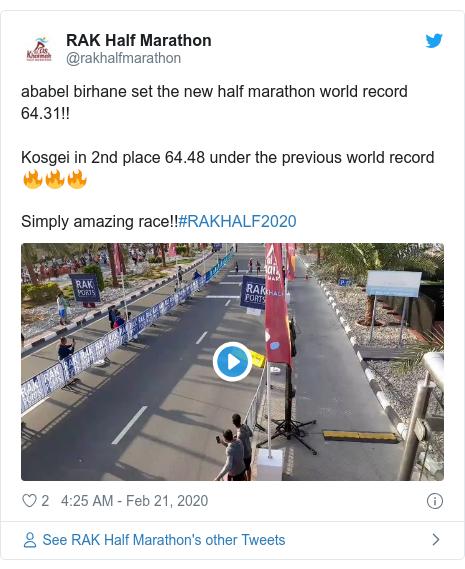 Twitter post by @rakhalfmarathon: ababel birhane set the new half marathon world record 64.31!!Kosgei in 2nd place 64.48 under the previous world record 🔥🔥🔥Simply amazing race!!#RAKHALF2020