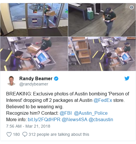Twitter post by @randybeamer: BREAKING  Exclusive photos of Austin bombing 'Person of Interest' dropping off 2 packages at Austin @FedEx store. Believed to be wearing wig. Recognize him? Contact  @FBI  @Austin_Police More info   @News4SA @cbsaustin