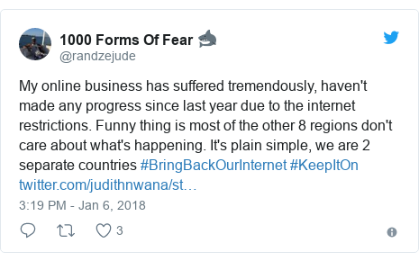Twitter post by @randzejude: My online business has suffered tremendously, haven't made any progress since last year due to the internet restrictions. Funny thing is most of the other 8 regions don't care about what's happening. It's plain simple, we are 2 separate countries #BringBackOurInternet #KeepItOn