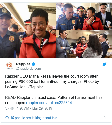 Twitter post by @rapplerdotcom: Rappler CEO Maria Ressa leaves the court room after posting P90,000 bail for anti-dummy charges. Photo by LeAnne Jazul/RapplerREAD Rappler on latest case  Pattern of harassment has not stopped