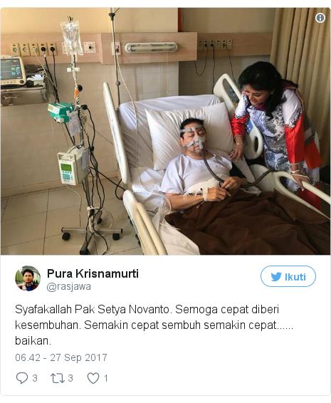 Twitter pesan oleh @rasjawa: Syafakallah Pak Setya Novanto. Semoga cepat diberi kesembuhan. Semakin cepat sembuh semakin cepat...... baikan. pic.twitter.com/mzvWVHKipt