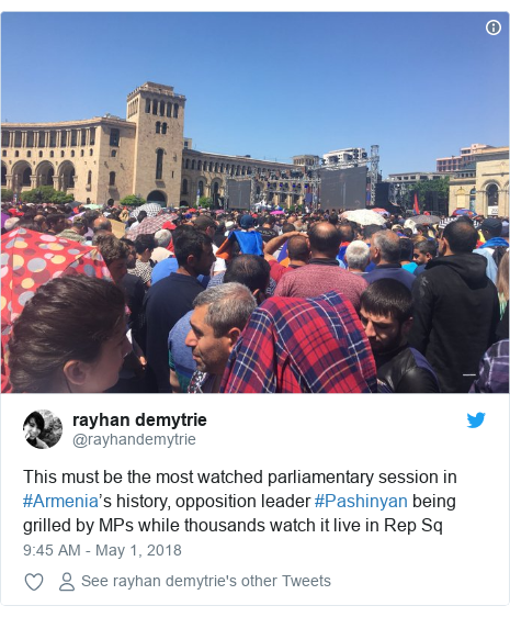 Twitter post by @rayhandemytrie: This must be the most watched parliamentary session in #Armenia's history, opposition leader #Pashinyan being grilled by MPs while thousands watch it live in Rep Sq
