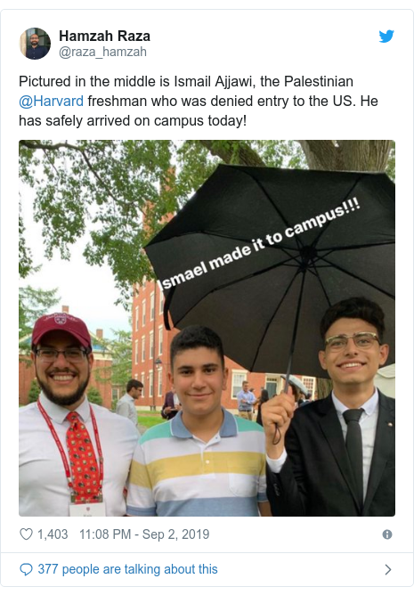 Twitter post by @raza_hamzah: Pictured in the middle is Ismail Ajjawi, the Palestinian @Harvard freshman who was denied entry to the US. He has safely arrived on campus today!