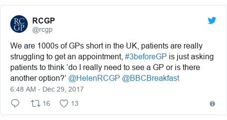 Twitter post by @rcgp: We are 1000s of GPs short in the UK, patients are really struggling to get an appointment, #3beforeGP is just asking patients to think 'do I really need to see a GP or is there another option?' @HelenRCGP @BBCBreakfast