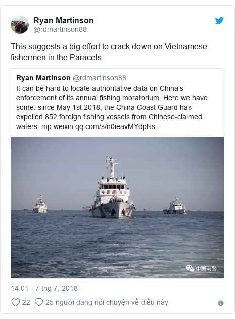 Twitter bởi @rdmartinson88: This suggests a big effort to crack down on Vietnamese fishermen in the Paracels.