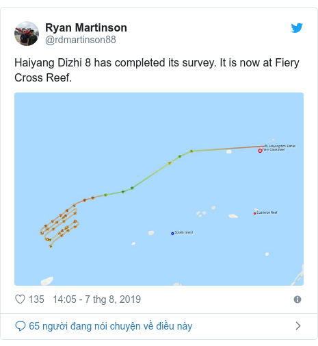 Twitter bởi @rdmartinson88: Haiyang Dizhi 8 has completed its survey. It is now at Fiery Cross Reef.