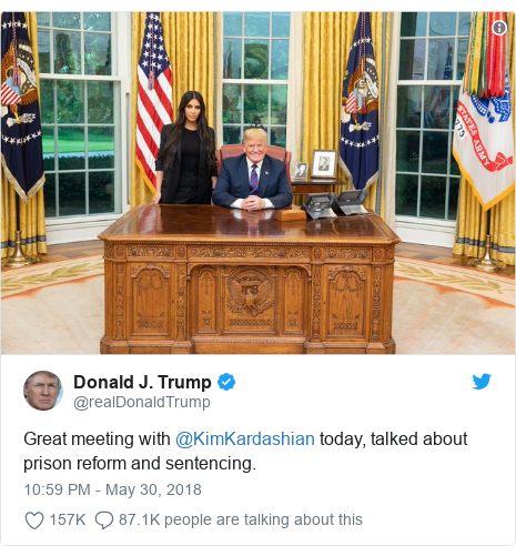 Twitter post by @realDonaldTrump: Great meeting with @KimKardashian today, talked about prison reform and sentencing.