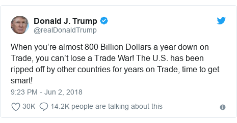 Twitter post by @realDonaldTrump: When you're almost 800 Billion Dollars a year down on Trade, you can't lose a Trade War! The U.S. has been ripped off by other countries for years on Trade, time to get smart!