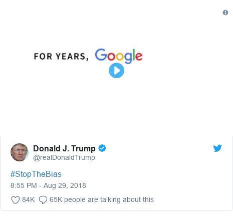 Twitter post by @realDonaldTrump: #StopTheBias