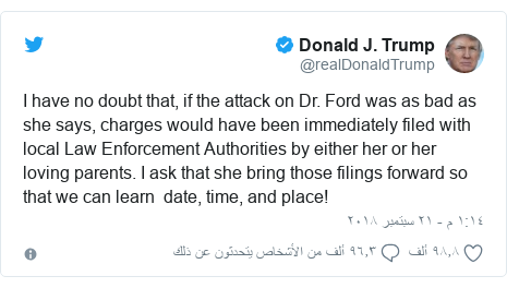 تويتر رسالة بعث بها @realDonaldTrump: I have no doubt that, if the attack on Dr. Ford was as bad as she says, charges would have been immediately filed with local Law Enforcement Authorities by either her or her loving parents. I ask that she bring those filings forward so that we can learn  date, time, and place!