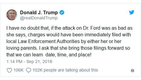 Twitter post by @realDonaldTrump: I have no doubt that, if the attack on Dr. Ford was as bad as she says, charges would have been immediately filed with local Law Enforcement Authorities by either her or her loving parents. I ask that she bring those filings forward so that we can learn  date, time, and place!