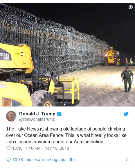 Twitter post by @realDonaldTrump: The Fake News is showing old footage of people climbing over our Ocean Area Fence. This is what it really looks like - no climbers anymore under our Administration!