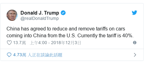 Twitter 用戶名 @realDonaldTrump: China has agreed to reduce and remove tariffs on cars coming into China from the U.S. Currently the tariff is 40%.