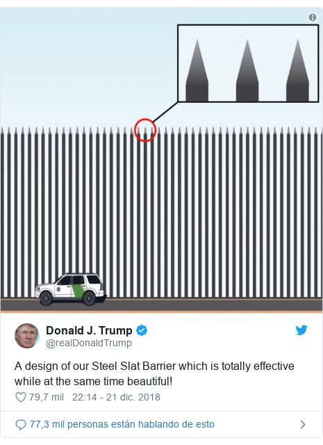 Publicación de Twitter por @realDonaldTrump: A design of our Steel Slat Barrier which is totally effective while at the same time beautiful!