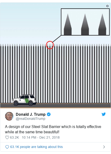 Twitter post by @realDonaldTrump: A design of our Steel Slat Barrier which is totally effective while at the same time beautiful!