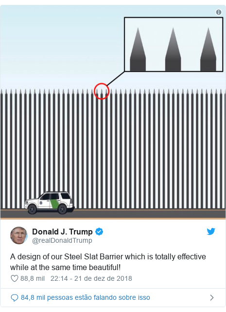 Twitter post de @realDonaldTrump: A design of our Steel Slat Barrier which is totally effective while at the same time beautiful!
