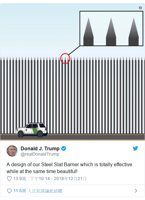 Twitter 用戶名 @realDonaldTrump: A design of our Steel Slat Barrier which is totally effective while at the same time beautiful!