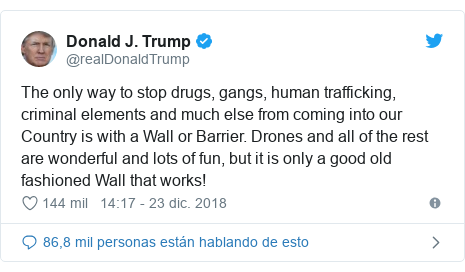 Publicación de Twitter por @realDonaldTrump: The only way to stop drugs, gangs, human trafficking, criminal elements and much else from coming into our Country is with a Wall or Barrier. Drones and all of the rest are wonderful and lots of fun, but it is only a good old fashioned Wall that works!