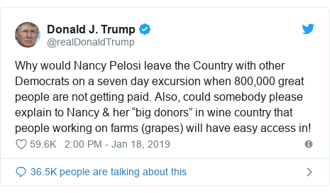 "Twitter post by @realDonaldTrump: Why would Nancy Pelosi leave the Country with other Democrats on a seven day excursion when 800,000 great people are not getting paid. Also, could somebody please explain to Nancy & her ""big donors"" in wine country that people working on farms (grapes) will have easy access in!"