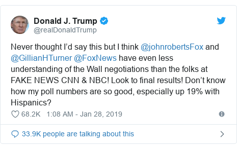 Twitter post by @realDonaldTrump: Never thought I'd say this but I think @johnrobertsFox and @GillianHTurner @FoxNews have even less understanding of the Wall negotiations than the folks at FAKE NEWS CNN & NBC! Look to final results! Don't know how my poll numbers are so good, especially up 19% with Hispanics?