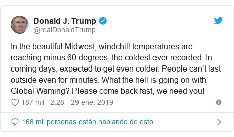 Publicación de Twitter por @realDonaldTrump: In the beautiful Midwest, windchill temperatures are reaching minus 60 degrees, the coldest ever recorded. In coming days, expected to get even colder. People can't last outside even for minutes. What the hell is going on with Global Waming? Please come back fast, we need you!