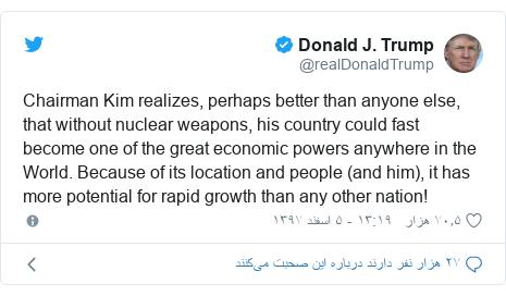 پست توییتر از @realDonaldTrump: Chairman Kim realizes, perhaps better than anyone else, that without nuclear weapons, his country could fast become one of the great economic powers anywhere in the World. Because of its location and people (and him), it has more potential for rapid growth than any other nation!