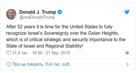 Twitter допис, автор: @realDonaldTrump: After 52 years it is time for the United States to fully recognize Israel's Sovereignty over the Golan Heights, which is of critical strategic and security importance to the State of Israel and Regional Stability!