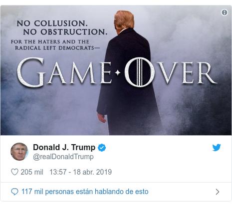 Publicación de Twitter por @realDonaldTrump: