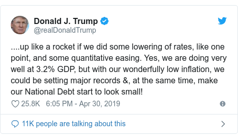 Twitter post by @realDonaldTrump: ....up like a rocket if we did some lowering of rates, like one point, and some quantitative easing. Yes, we are doing very well at 3.2% GDP, but with our wonderfully low inflation, we could be setting major records &, at the same time, make our National Debt start to look small!