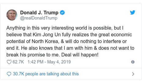 Twitter post by @realDonaldTrump: Anything in this very interesting world is possible, but I believe that Kim Jong Un fully realizes the great economic potential of North Korea, & will do nothing to interfere or end it. He also knows that I am with him & does not want to break his promise to me. Deal will happen!