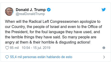 Publicación de Twitter por @realDonaldTrump: When will the Radical Left Congresswomen apologize to our Country, the people of Israel and even to the Office of the President, for the foul language they have used, and the terrible things they have said. So many people are angry at them & their horrible & disgusting actions!