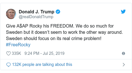 Twitter post by @realDonaldTrump: Give A$AP Rocky his FREEDOM. We do so much for Sweden but it doesn't seem to work the other way around. Sweden should focus on its real crime problem! #FreeRocky