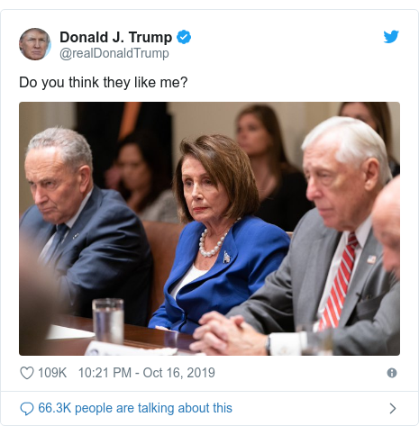 Twitter post by @realDonaldTrump: Do you think they like me?