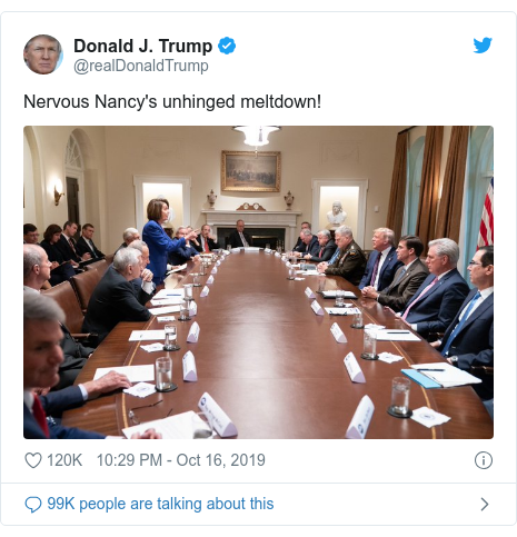 Twitter post by @realDonaldTrump: Nervous Nancy's unhinged meltdown!