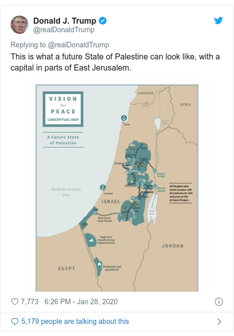 Twitter post by @realDonaldTrump: This is what a future State of Palestine can look like, with a capital in parts of East Jerusalem.