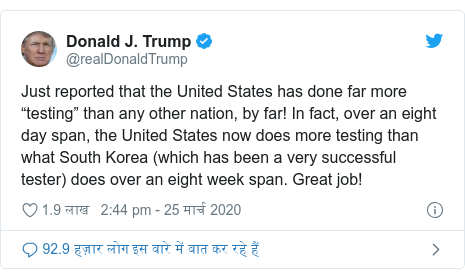 """ट्विटर पोस्ट @realDonaldTrump: Just reported that the United States has done far more """"testing"""" than any other nation, by far! In fact, over an eight day span, the United States now does more testing than what South Korea (which has been a very successful tester) does over an eight week span. Great job!"""