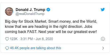 Twitter post by @realDonaldTrump: Big day for Stock Market. Smart money, and the World, know that we are heading in the right direction. Jobs coming back FAST. Next year will be our greatest ever!