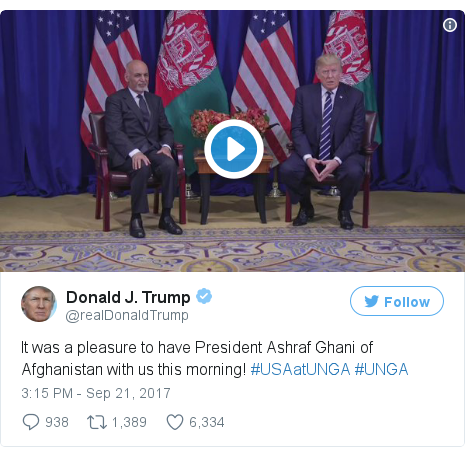 د @realDonaldTrump په مټ ټویټر  تبصره : It was a pleasure to have President Ashraf Ghani of Afghanistan with us this morning! #USAatUNGA #UNGA pic.twitter.com/HOEVfnMn14
