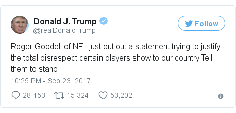 Twitter post by @realDonaldTrump: Roger Goodell of NFL just put out a statement trying to justify the total disrespect certain players show to our country.Tell them to stand!