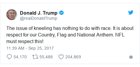 Twitter post by @realDonaldTrump: The issue of kneeling has nothing to do with race. It is about respect for our Country, Flag and National Anthem. NFL must respect this!