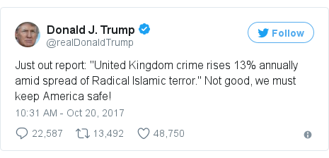 """Twitter post by @realDonaldTrump: Just out report  """"United Kingdom crime rises 13% annually amid spread of Radical Islamic terror."""" Not good, we must keep America safe!"""
