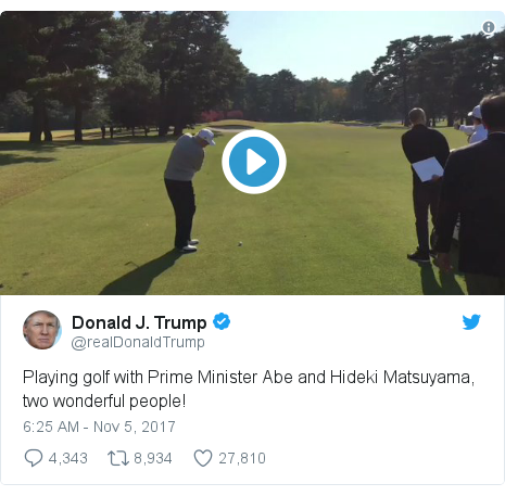 Twitter post by @realDonaldTrump: Playing golf with Prime Minister Abe and Hideki Matsuyama, two wonderful people!