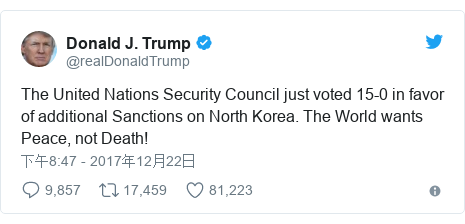 Twitter 用户名 @realDonaldTrump: The United Nations Security Council just voted 15-0 in favor of additional Sanctions on North Korea. The World wants Peace, not Death!