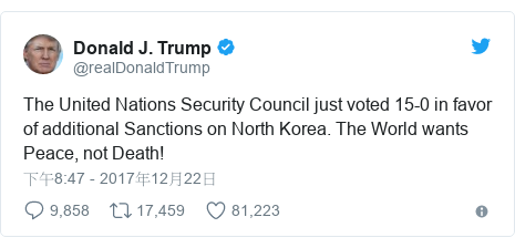 Twitter 用戶名 @realDonaldTrump: The United Nations Security Council just voted 15-0 in favor of additional Sanctions on North Korea. The World wants Peace, not Death!