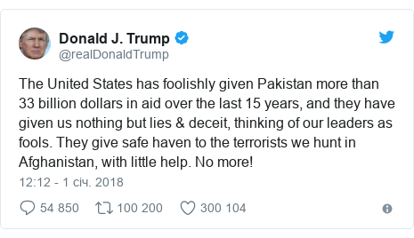 Twitter допис, автор: @realDonaldTrump: The United States has foolishly given Pakistan more than 33 billion dollars in aid over the last 15 years, and they have given us nothing but lies & deceit, thinking of our leaders as fools. They give safe haven to the terrorists we hunt in Afghanistan, with little help. No more!