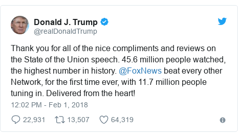 Twitter post by @realDonaldTrump: Thank you for all of the nice compliments and reviews on the State of the Union speech. 45.6 million people watched, the highest number in history. @FoxNews beat every other Network, for the first time ever, with 11.7 million people tuning in. Delivered from the heart!