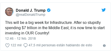 Publicación de Twitter por @realDonaldTrump: This will be a big week for Infrastructure. After so stupidly spending $7 trillion in the Middle East, it is now time to start investing in OUR Country!