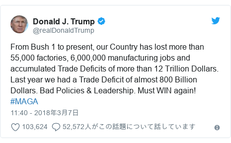 Twitter post by @realDonaldTrump: From Bush 1 to present, our Country has lost more than 55,000 factories, 6,000,000 manufacturing jobs and accumulated Trade Deficits of more than 12 Trillion Dollars. Last year we had a Trade Deficit of almost 800 Billion Dollars. Bad Policies & Leadership. Must WIN again!  #MAGA