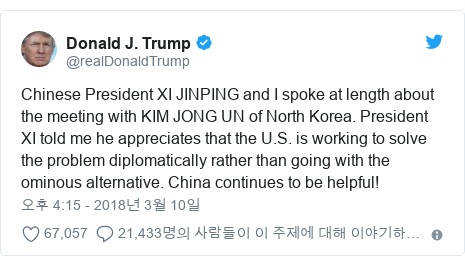 Twitter post by @realDonaldTrump: Chinese President XI JINPING and I spoke at length about the meeting with KIM JONG UN of North Korea. President XI told me he appreciates that the U.S. is working to solve the problem diplomatically rather than going with the ominous alternative. China continues to be helpful!